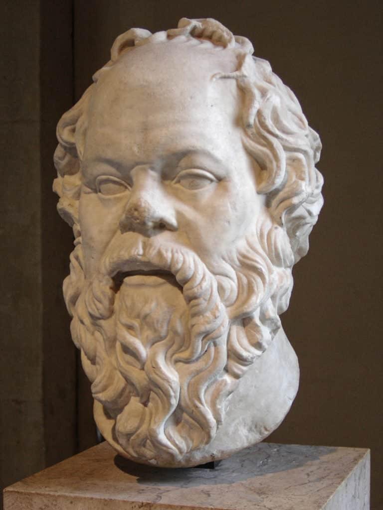 Socrate, sculpture de l'auteur d'une redoutable méthode de questionnement... et de vente.